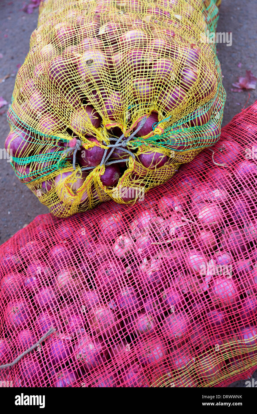Red onions in sacks at an Indian village market. Andhra Pradesh, India - Stock Image