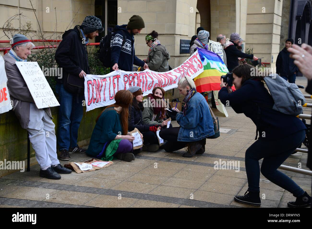 London UK, 3 Feb 2014 : A peaceful demonstration in support of the Five Christians in Court  whose action blocked Stock Photo