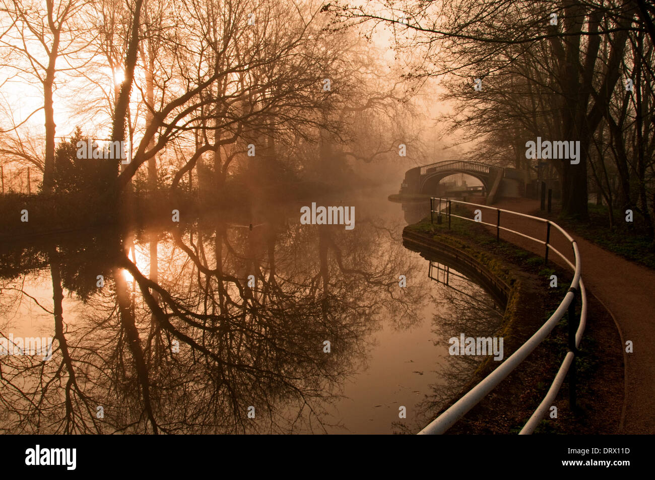 Oxford Canal and towpath, early morning. - Stock Image