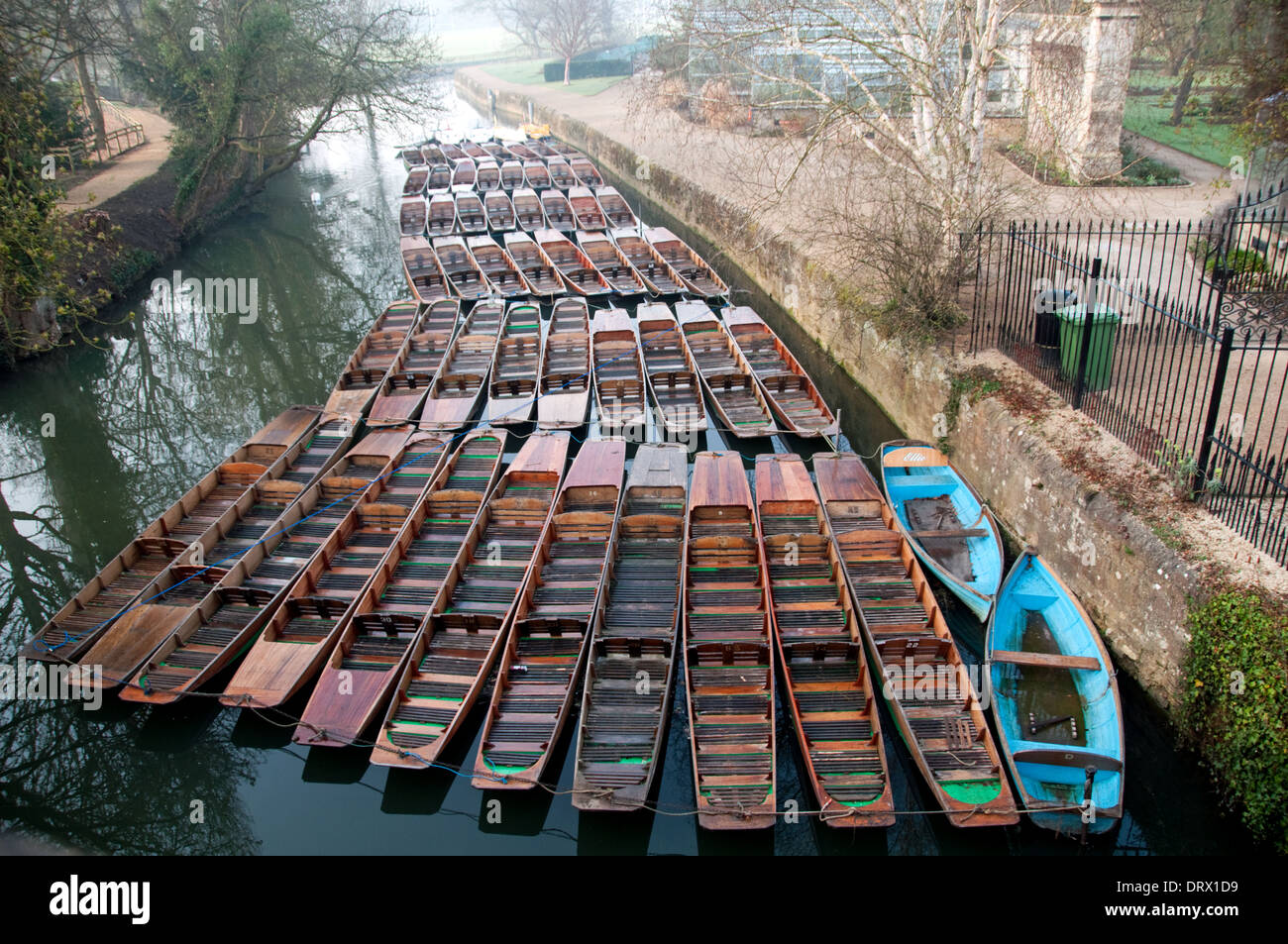 Empty punts on River Cherwell at Oxford - Stock Image