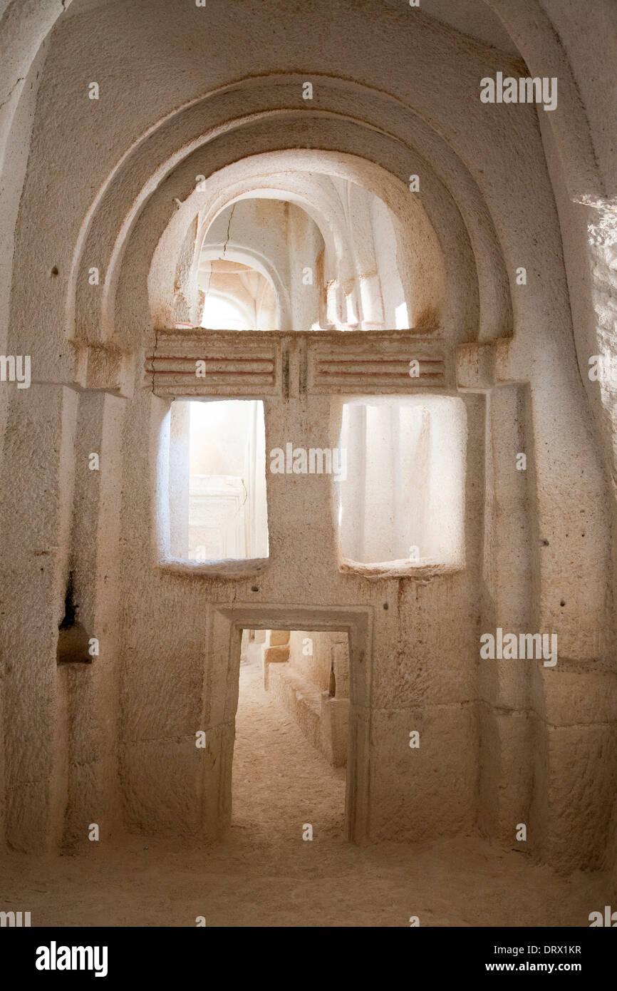 rock church, rose valley, landscape, cappadocia, anatolia, turkey, asia Stock Photo