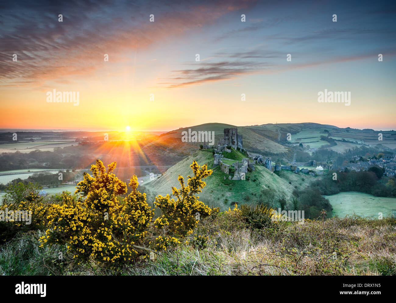 Sunrise overlooking the ruins of Corfe Castle in Dorset Stock Photo