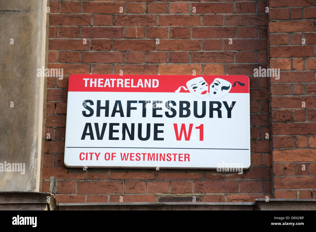 Shaftesbury Avenue street sign in London's West End - Stock Image