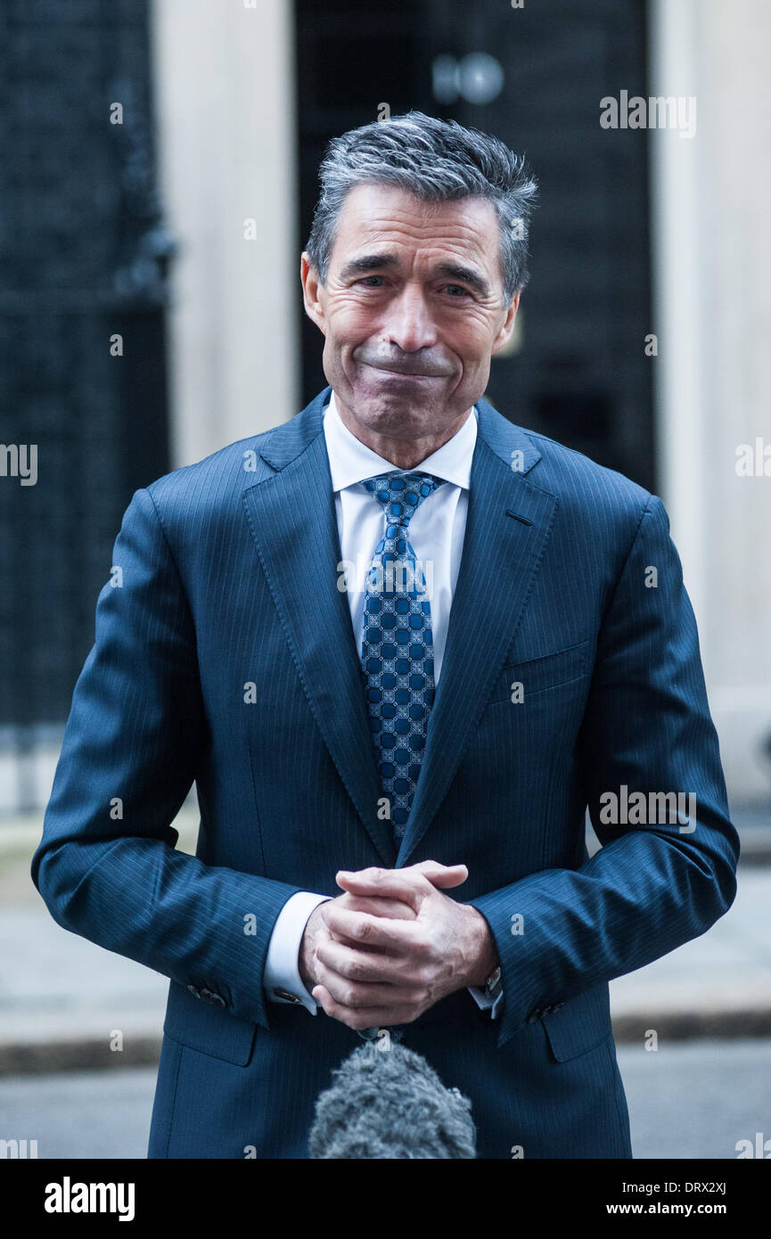 London, UK - 3 February 2014: NATO Secretary General, Mr. Anders Fogh Rasmussen release interviews after meeting Stock Photo