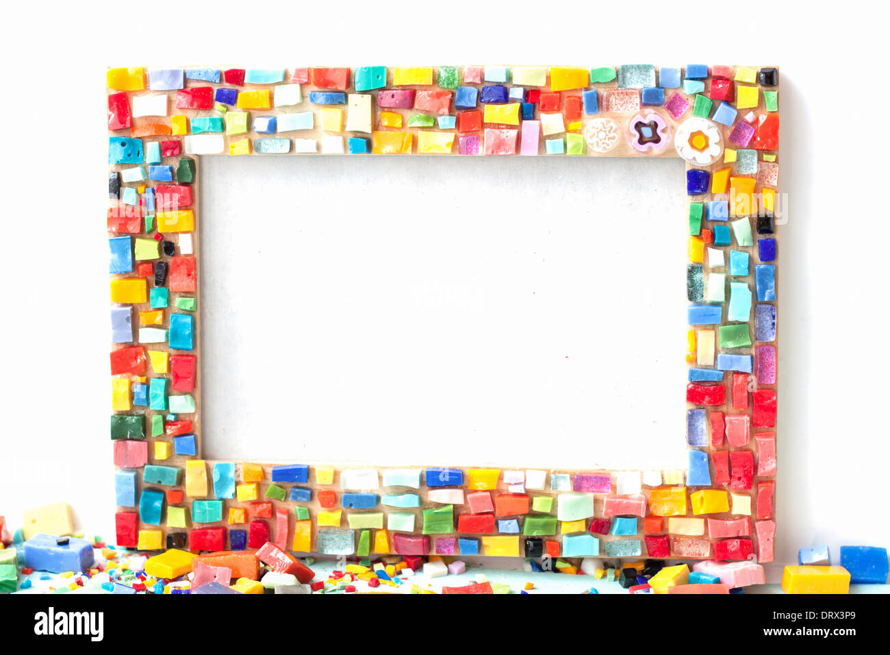 frame mosaic crafts hobby handmade colorful [isolated on white ...