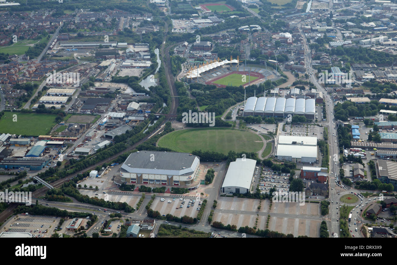 aerial view of Sheffield Don Valley, including the Don Valley Stadium and The Sheffield Motorpoint Arena - Stock Image