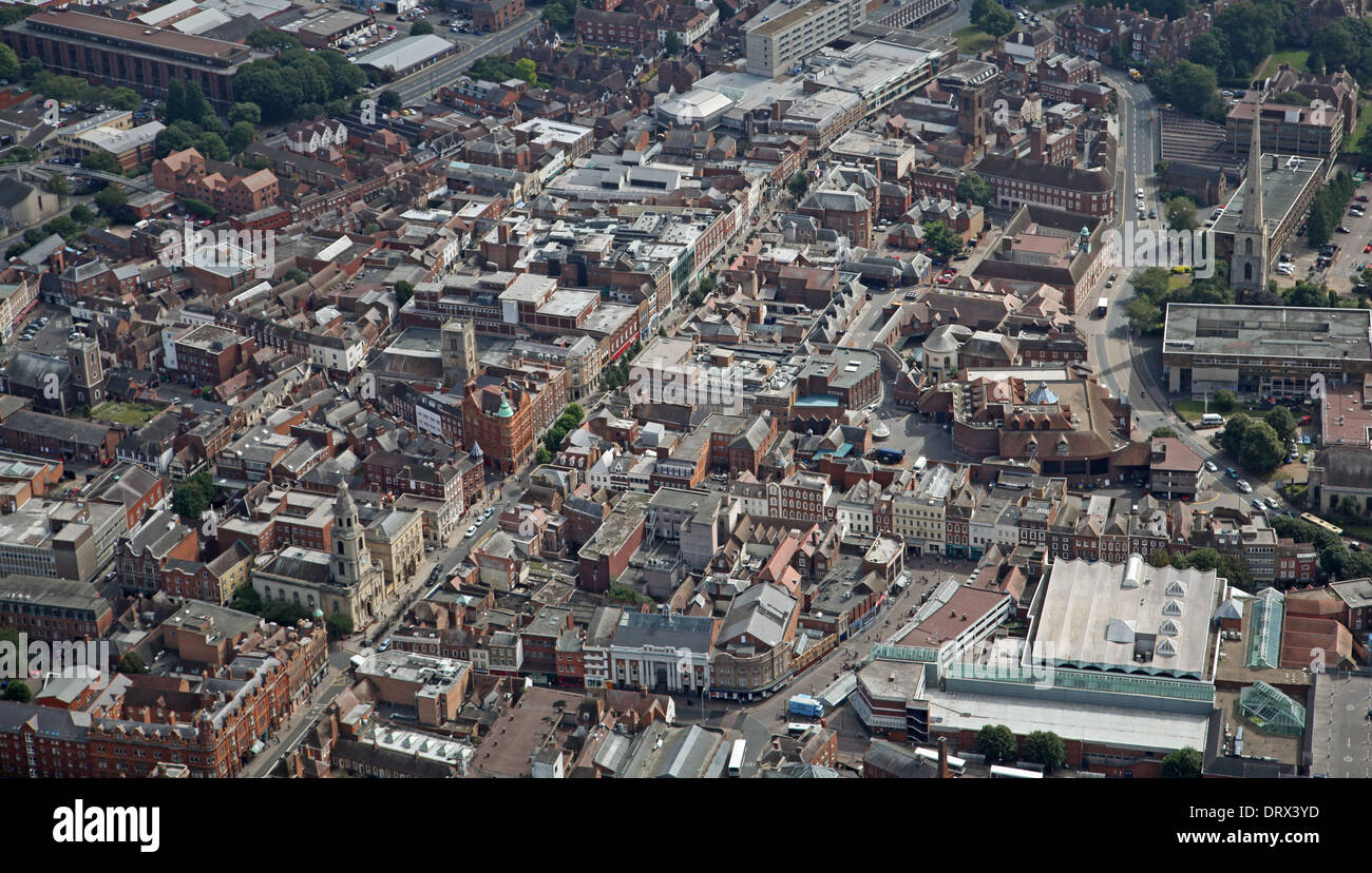 aerial view of Worcester city centre - Stock Image