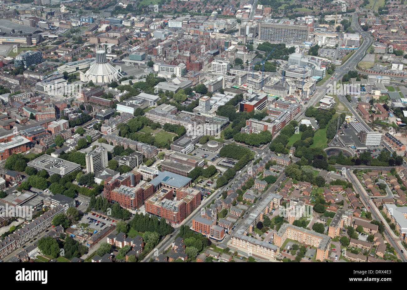 aerial view of the area west of Grove Street in Liverpool, including the University of Liverpool - Stock Image