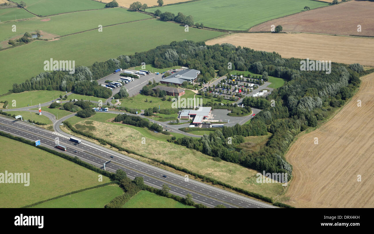 aerial view of Stafford Motorway Services southbound on the M6, Road Chef managed - Stock Image