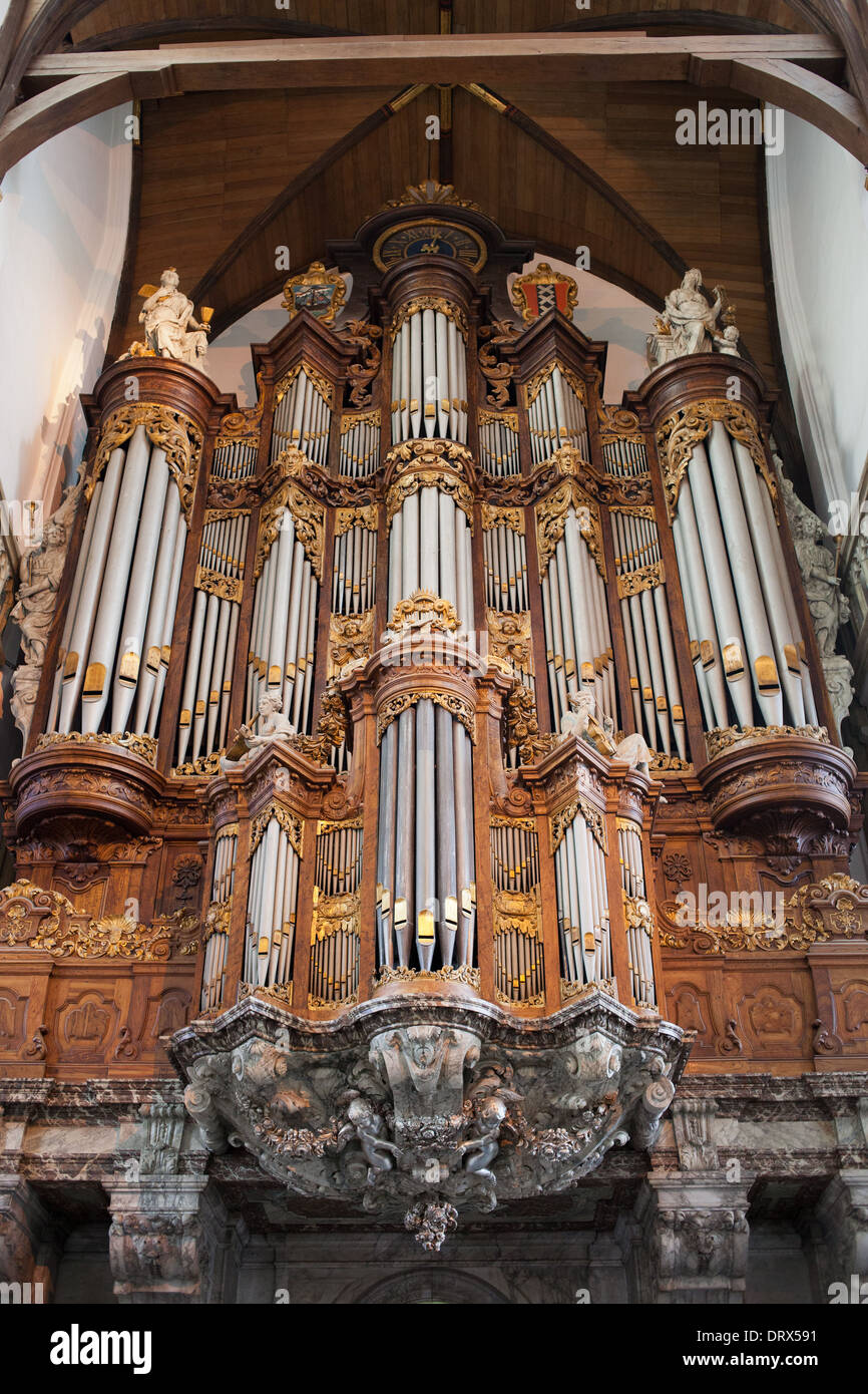 Baroque Grand Organ in Oude Kerk (Old Church) built in 1724-1726 by Christian Vater, Amsterdam, Holland, the Netherlands. - Stock Image