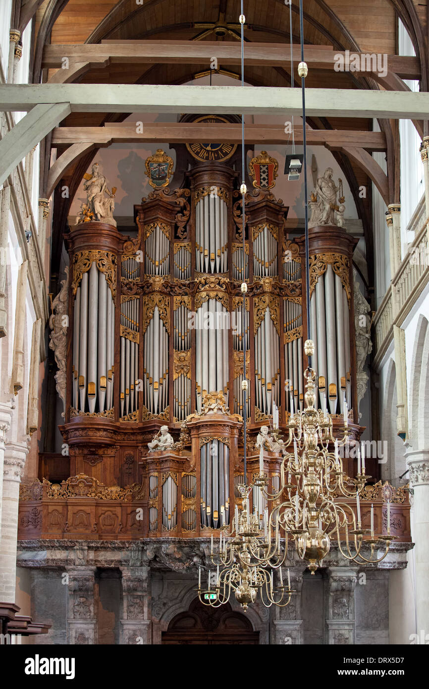 Baroque Grand Organ in Oude Kerk (Old Church) built in 1724-1726 by Christian Vater in Amsterdam, Holland, the Netherlands. - Stock Image
