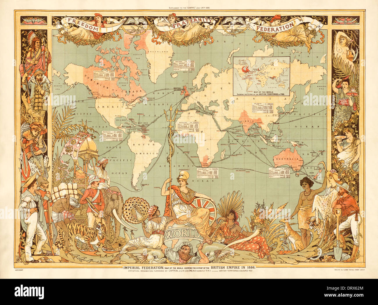 Map showing the extent of the British Empire in 1886, distributed as a supplement to The Graphic weekly newspaper 24 July 1886 - Stock Image
