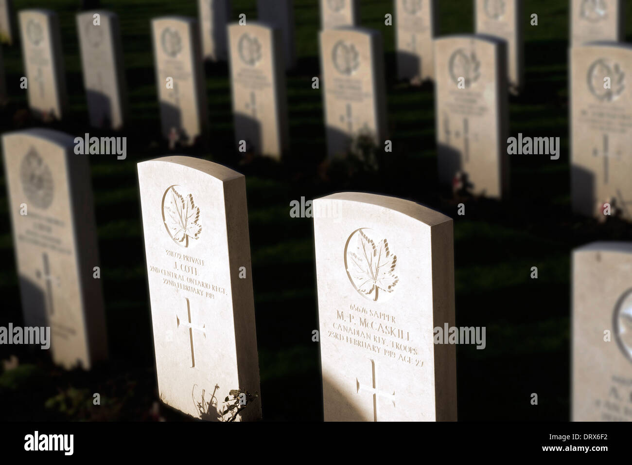 Canadian Gravestones dating from the Great War in the graveyard of St Margaret's Church, Bodelwyddan, North Wales. Stock Photo