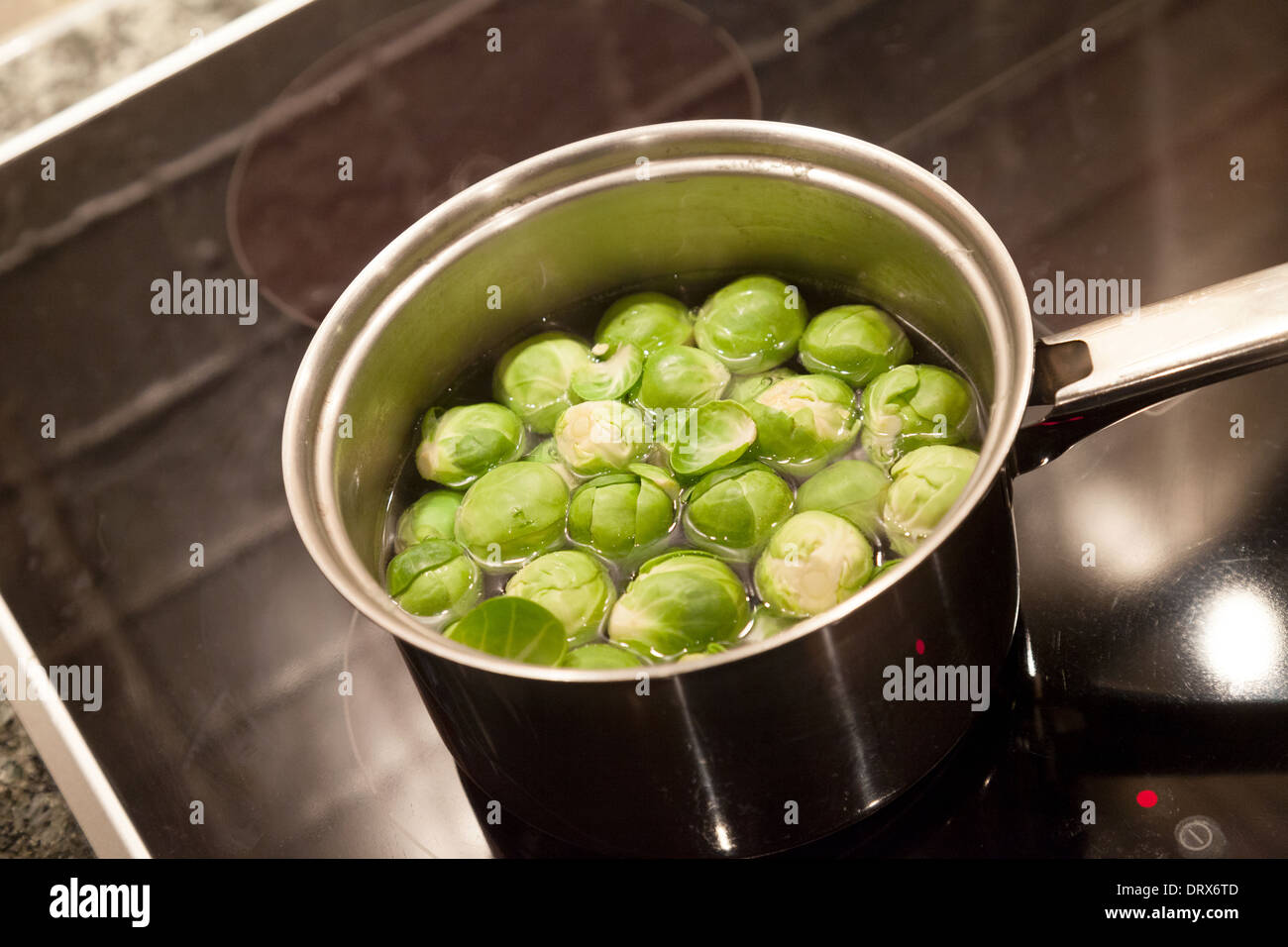 Brussel Sprouts Vegetables Cooking In A Saucepan On The