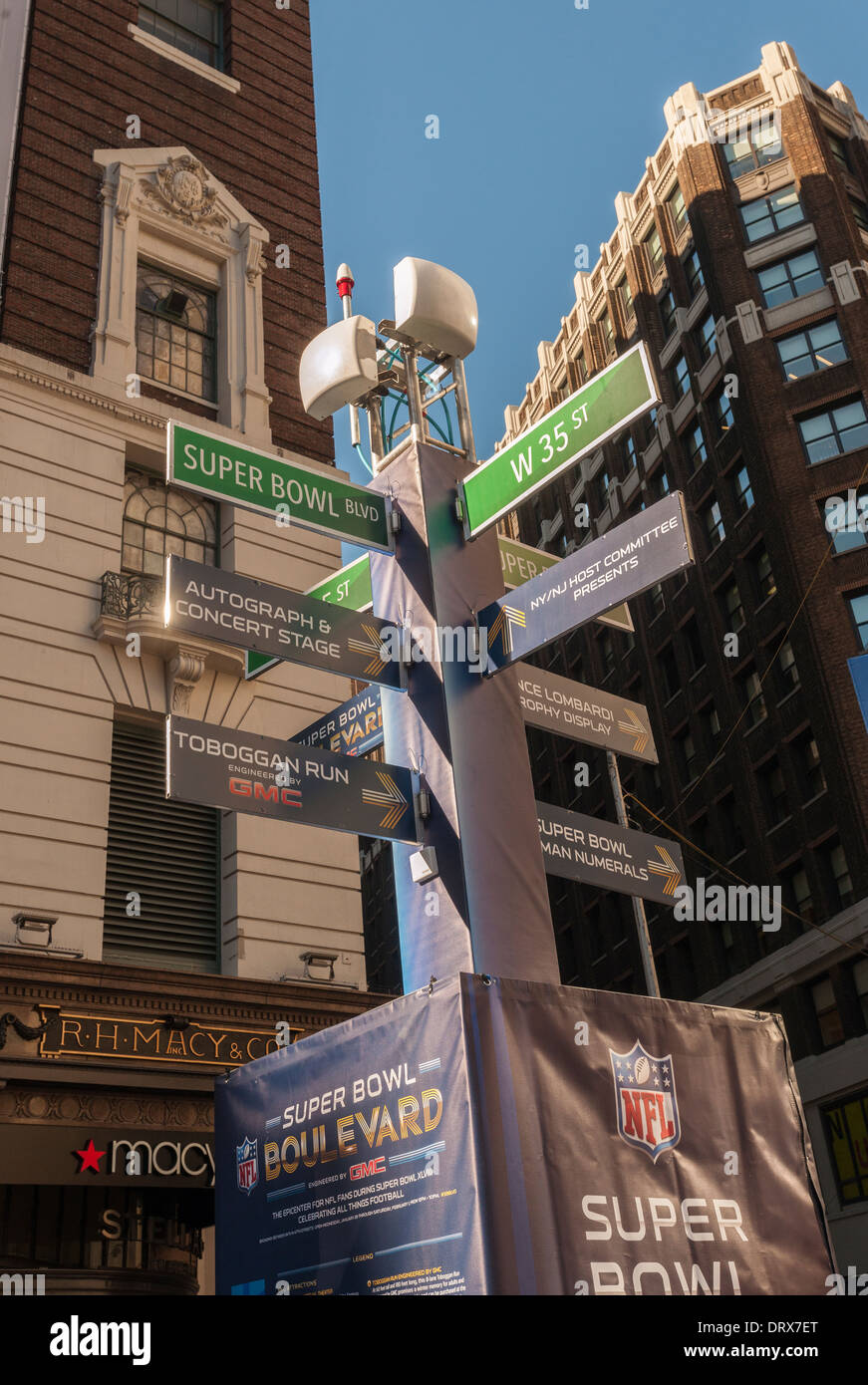 Wayfinding sign on Super Bowl Boulevard in Midtown Manhattan in New York - Stock Image