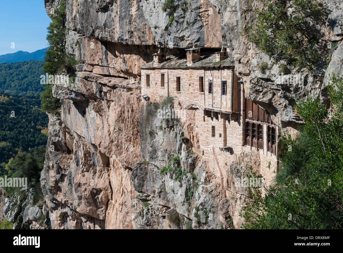 The historic Kipina Monastery (12th century), built on a cliff of the Tzoumerka mountains in Epirus, Greece - Stock Image