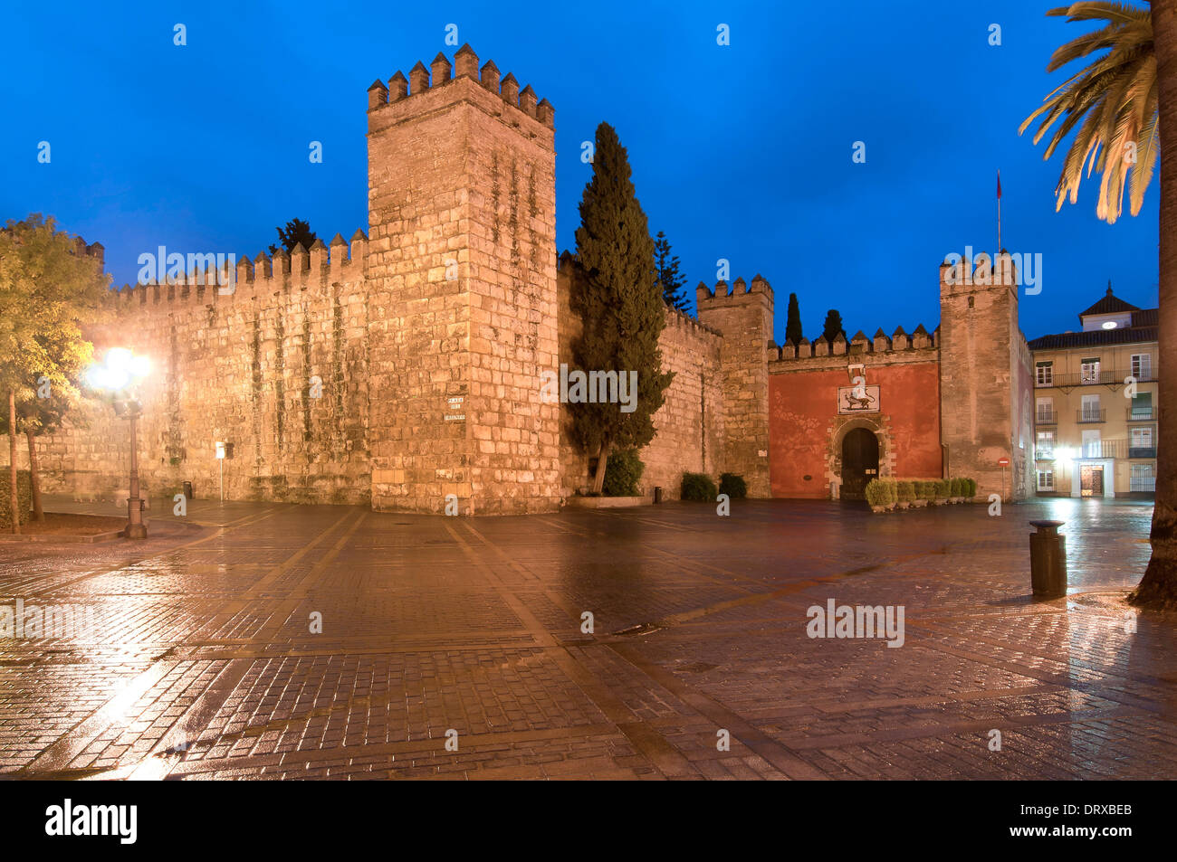 Walls of the Royal Alcazar, Seville, Region of Andalusia, Spain, Europe - Stock Image