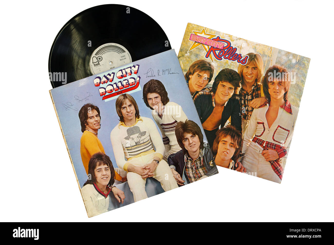 Bay City Rollers LP Records on a white background - Stock Image
