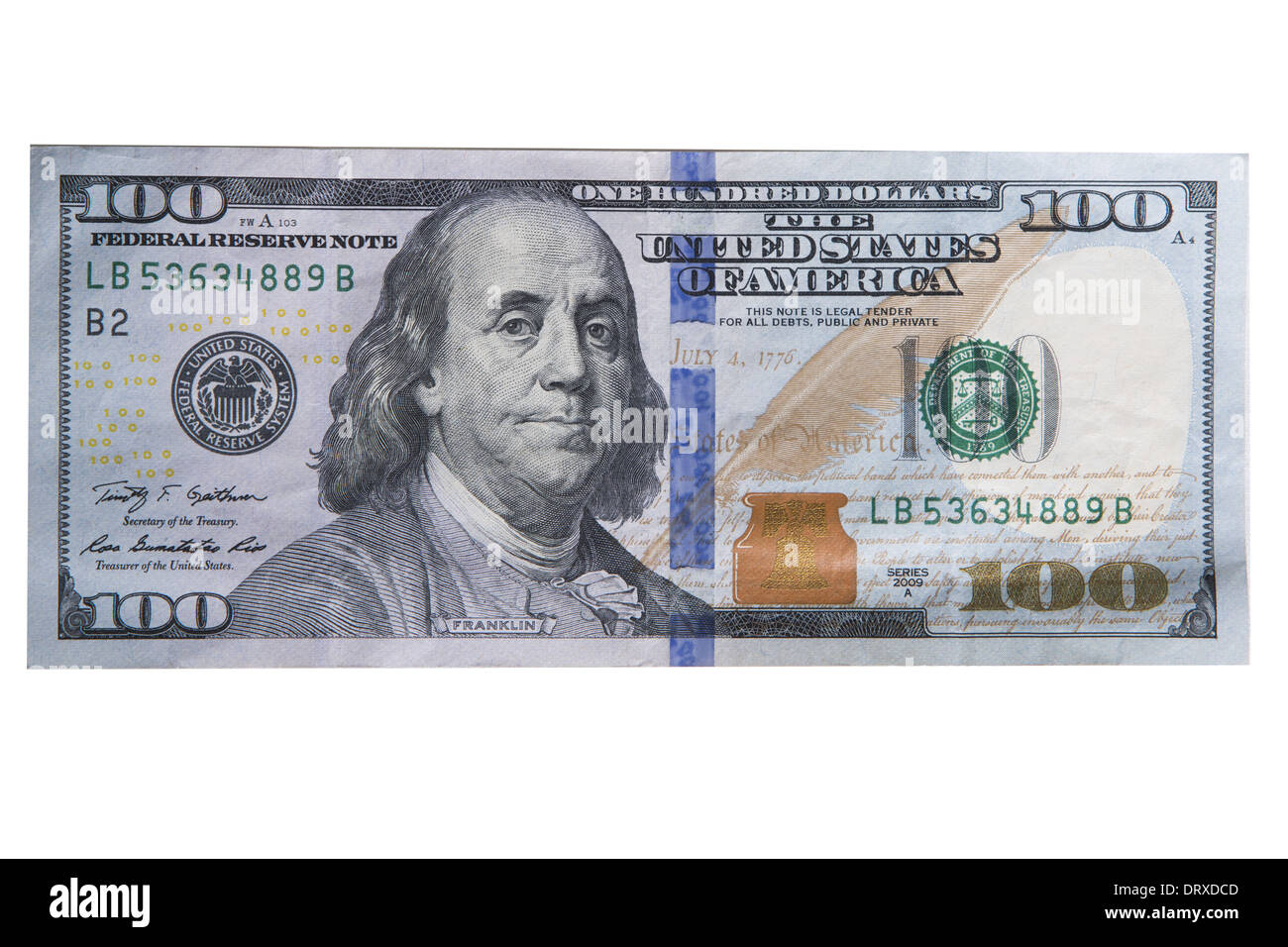 New one hundred dollar bill isolated - Stock Image