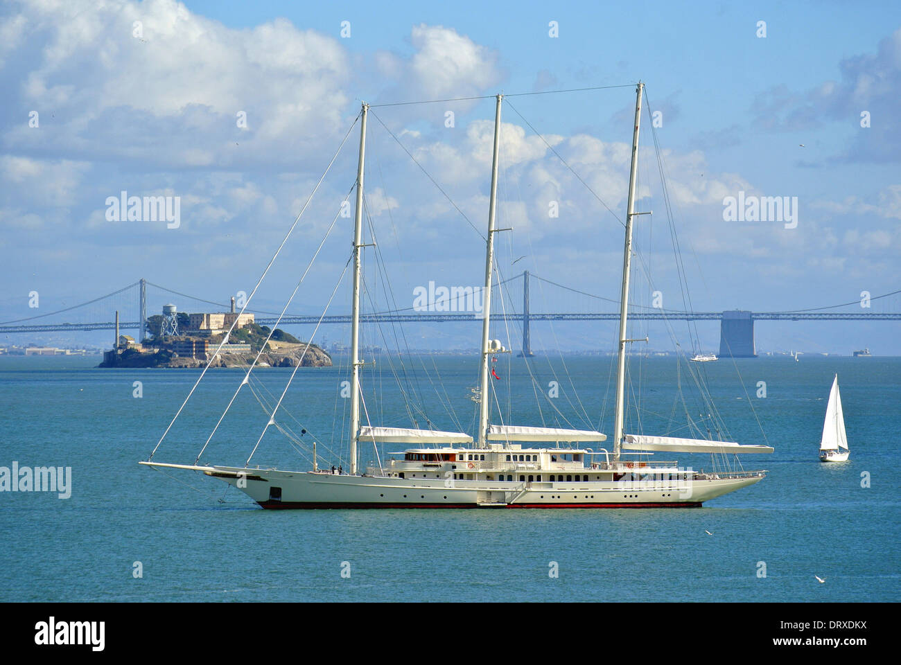 Athena the worlds fourth largest yacht built by Royal Huisman for  Netscape Internet entrepreneur James H. Clark valued at 95 million US dollars anchors off Sausalito in San Francisco Bay. - Stock Image