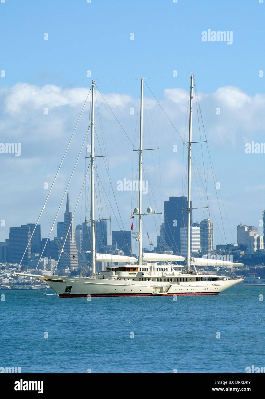 The  worlds 4th largest luxury yacht Athena built for  Netscape internet Entrepreneur Jim Clark and valued at 95million US dollars  anchors off Sausalito in San Francisco Bay - Stock Image
