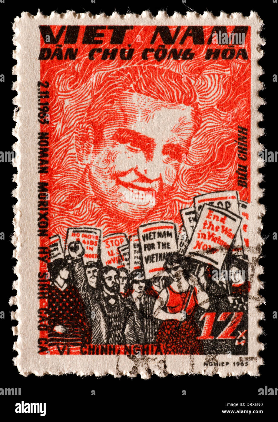 Postage stamp from Vietnam depicting Norman R. Morrison, American Vietnam war protester, and anti-war demonstration. Stock Photo