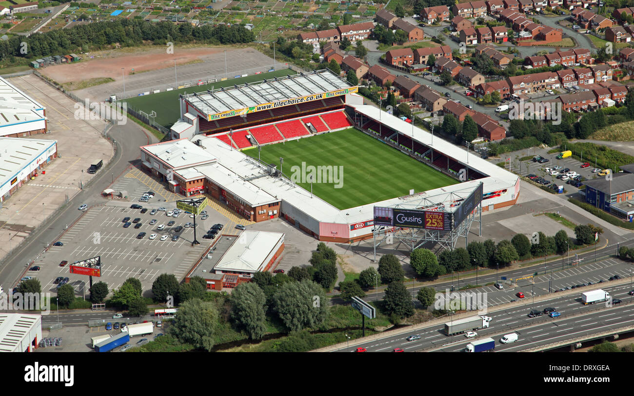aerial view of Walsall FC football ground The Bescot Stadium - Stock Image