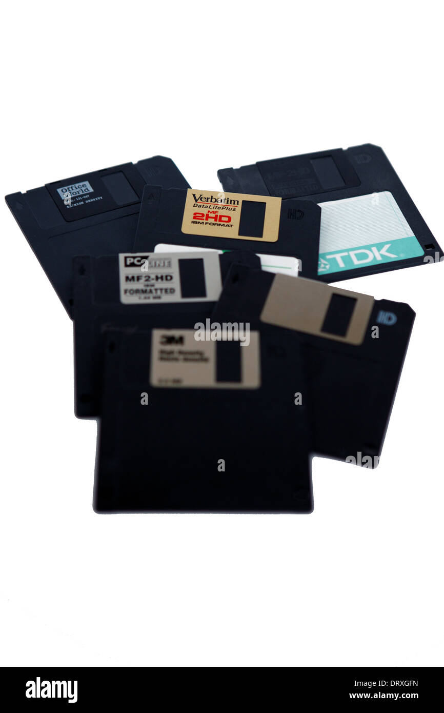 Floppy disks on a white background - Stock Image