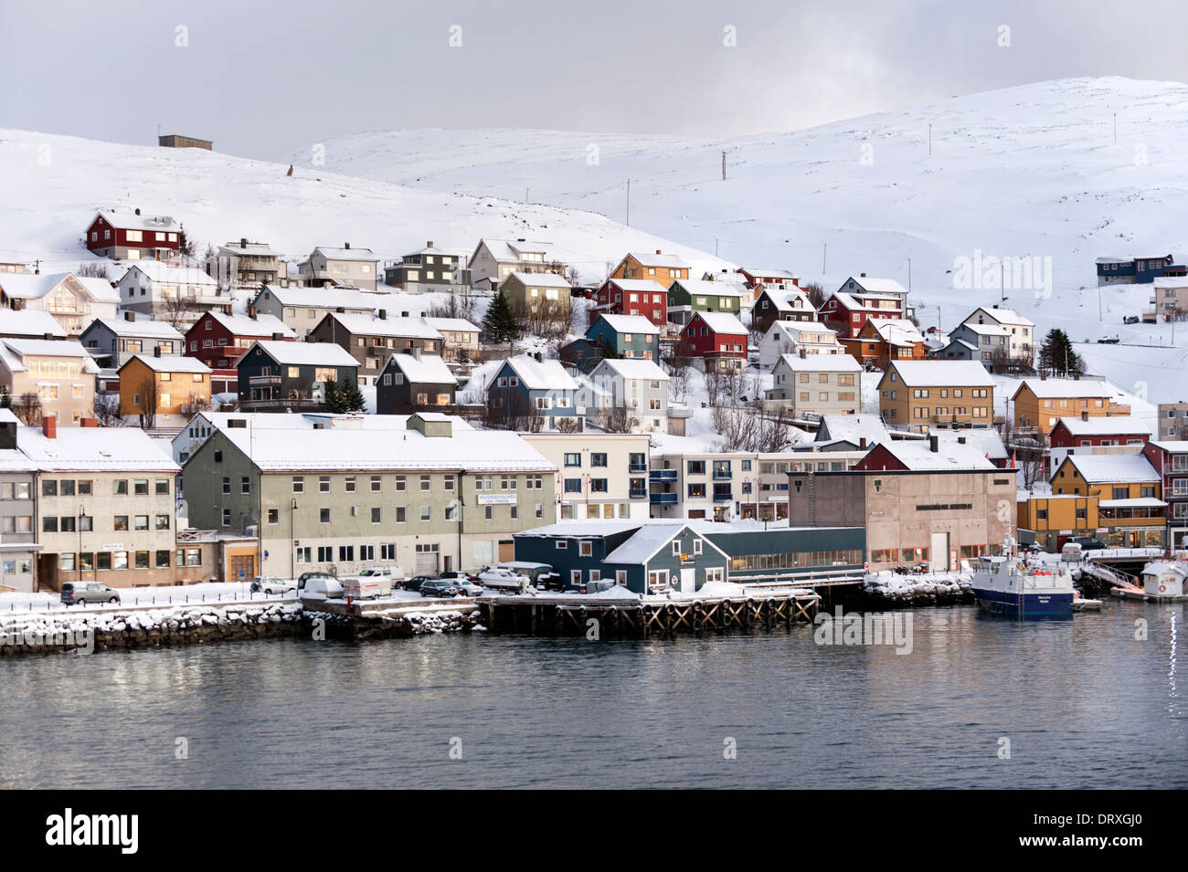 The waterfront of the coastal city and port of Honningsvåg, Nordkapp municipality. Finnmark County, North Norway - Stock Image