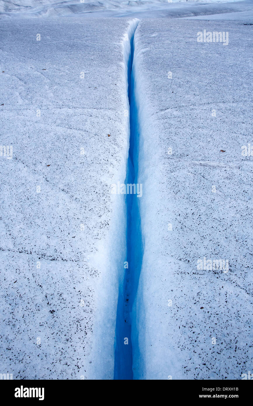 Crevasse in the Mendenhall glacier, Juneau, Alaska - Stock Image