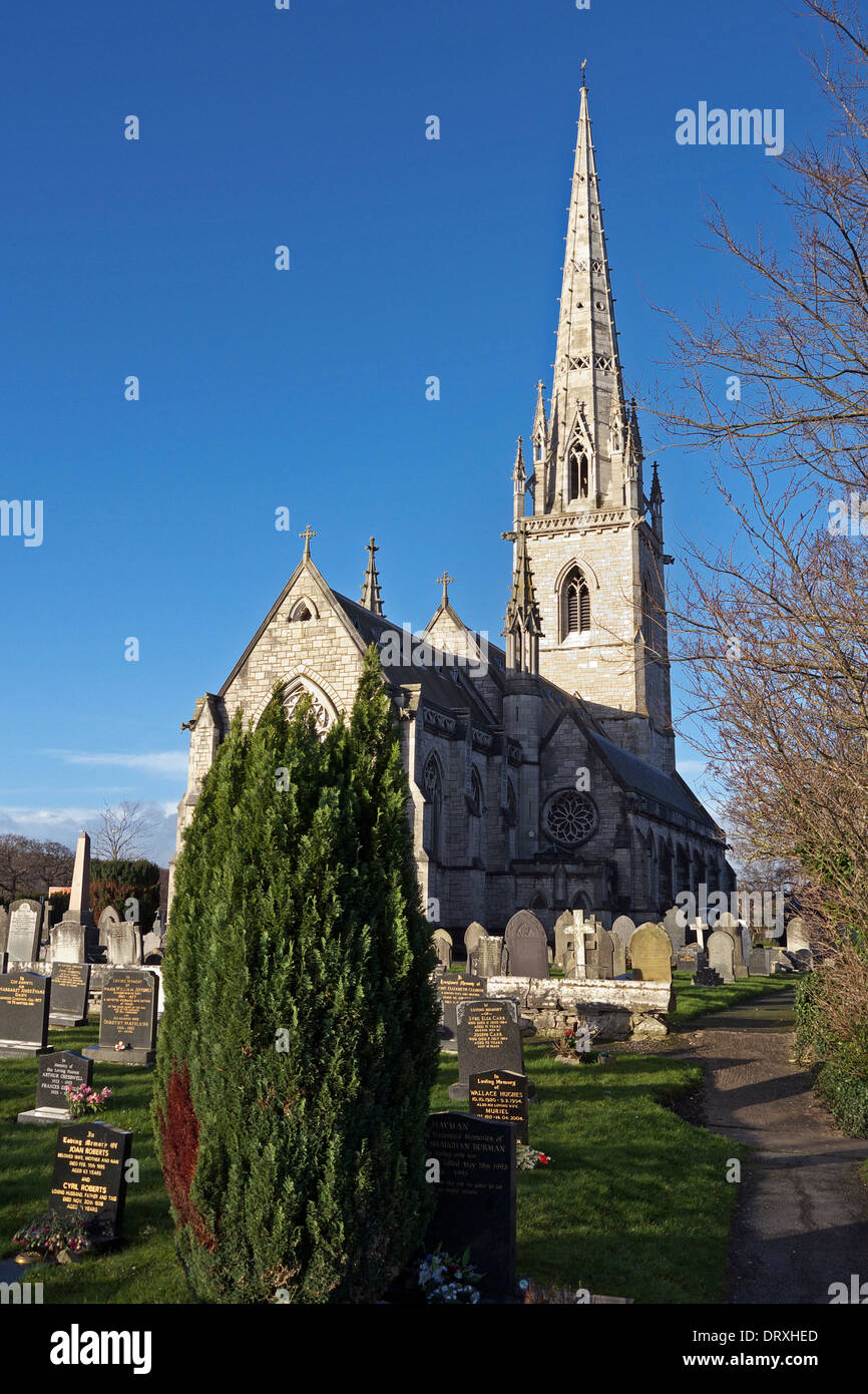 St Margaret's Church, Bodelwyddan, North Wales, also known as The Marble Church. Stock Photo