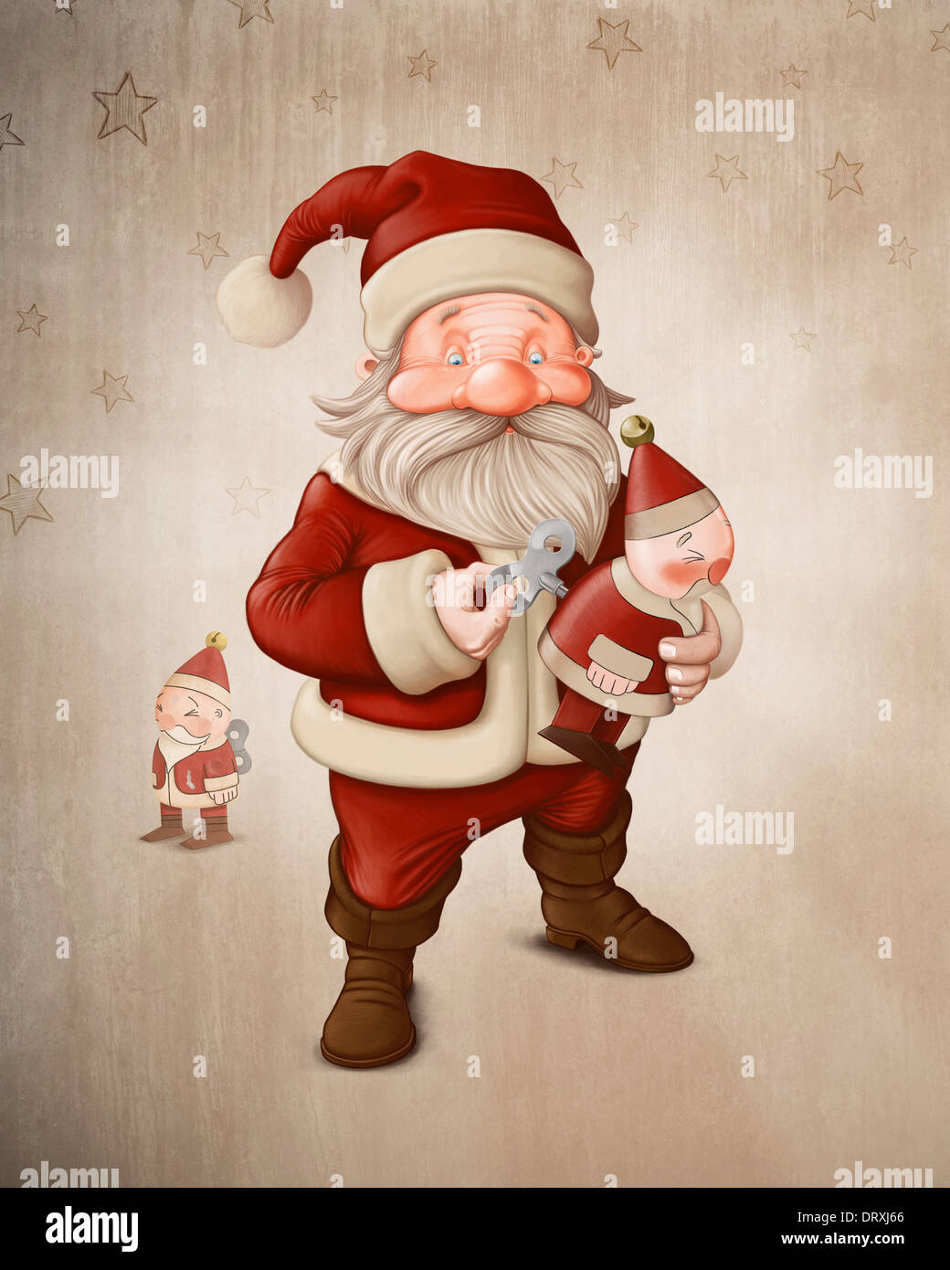 Santa Claus charge a her mechanical doll - Stock Image