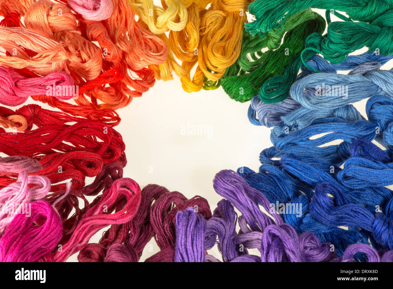 skeins of multicolored threads for embroidery - muline - Stock Image