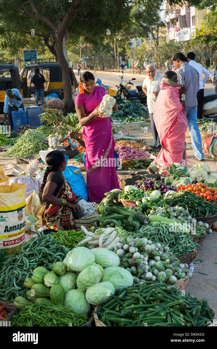 Indian street vegetable market in Puttaparthi, Andhra Pradesh, India - Stock Image