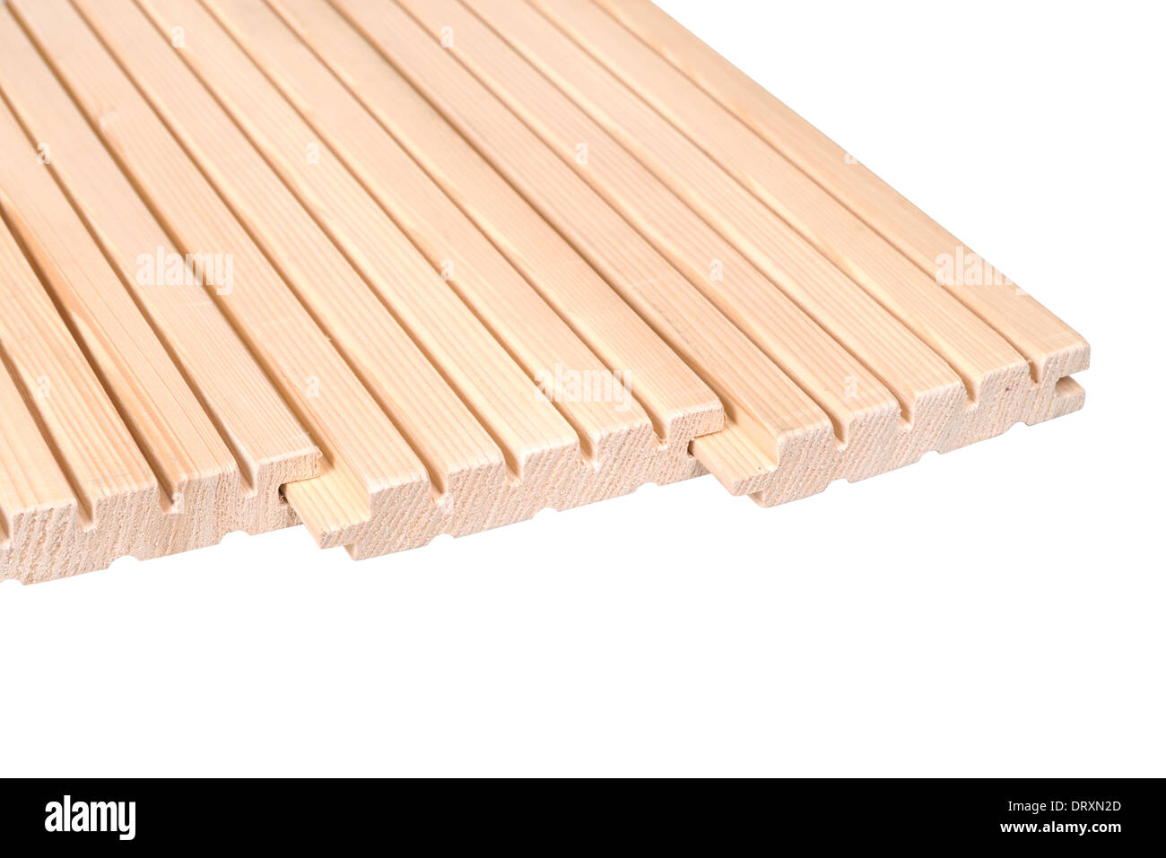 Pine floorboards isolated over white with clipping path. Stock Photo