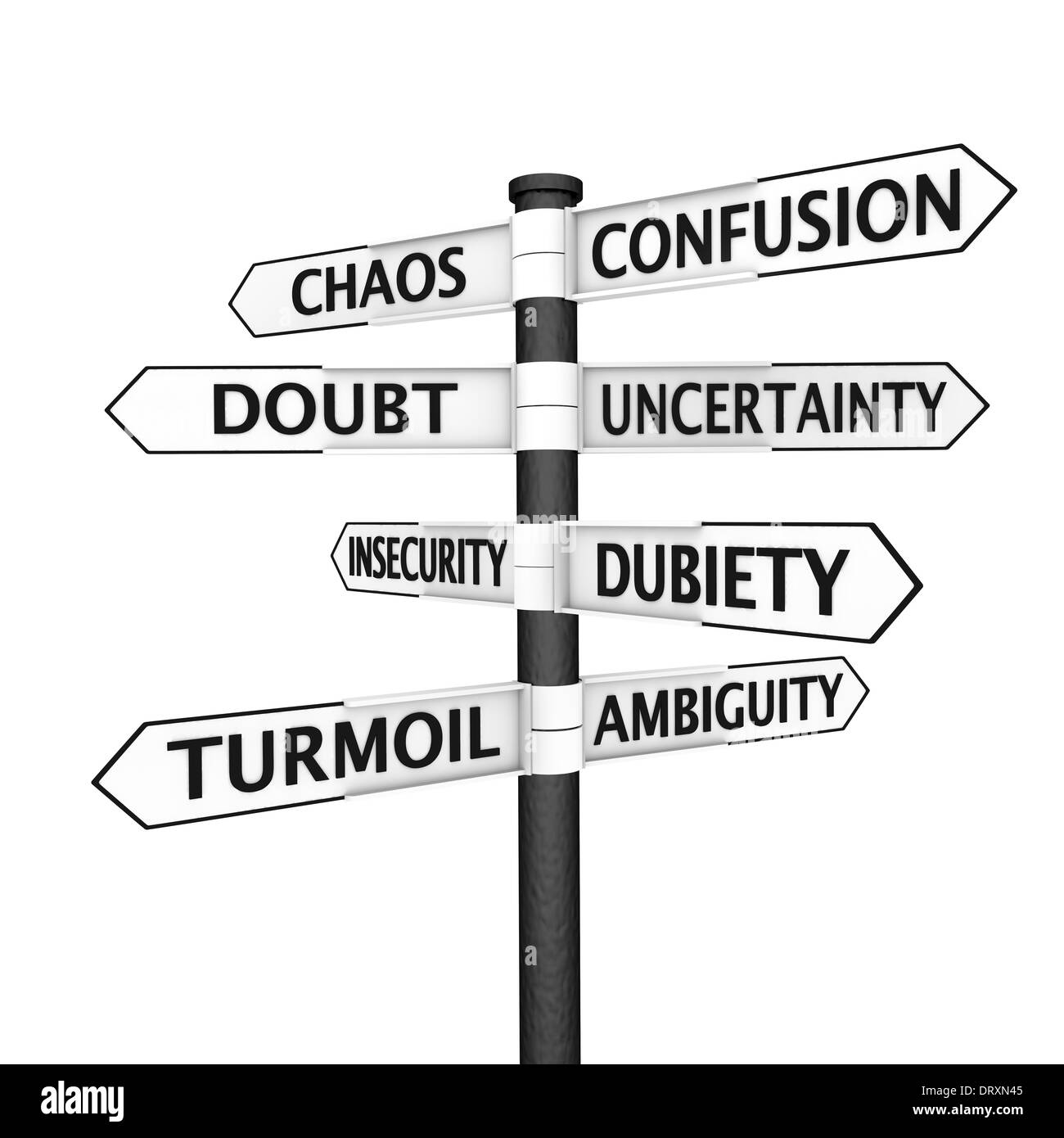 Signpost with confusion-related names pointing in every direction Stock Photo