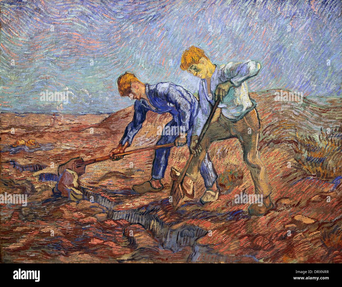 Vincent van Gogh.1889.Two peasants digging.Les Bêcheurs. - Stock Image