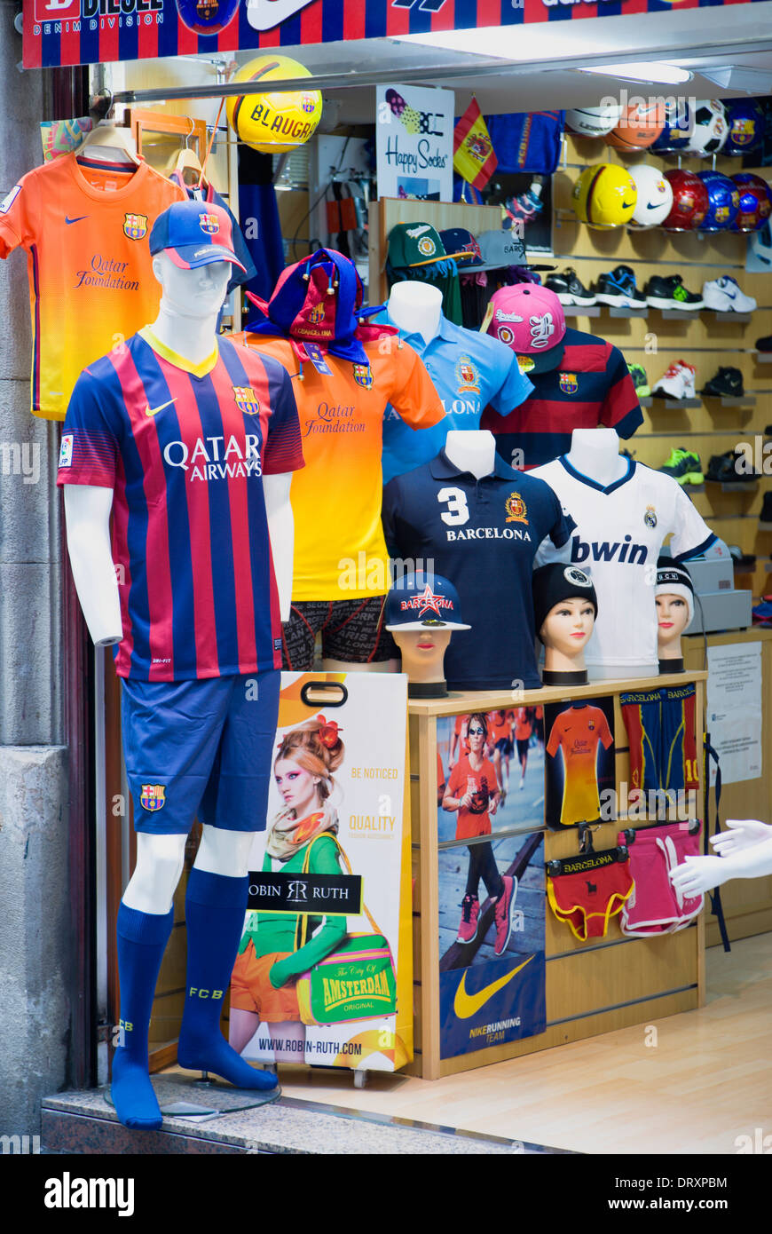 bc43422df55a3b Spain, Catalonia, Barcelona, Sports goods shop in the Gothic Quarter with  display of Barcelona Football Club clothes.