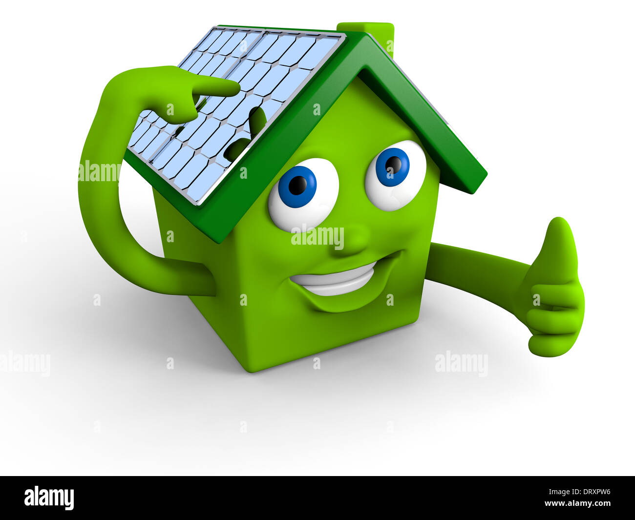 Happy green house showing its solar panels on the roof - Stock Image