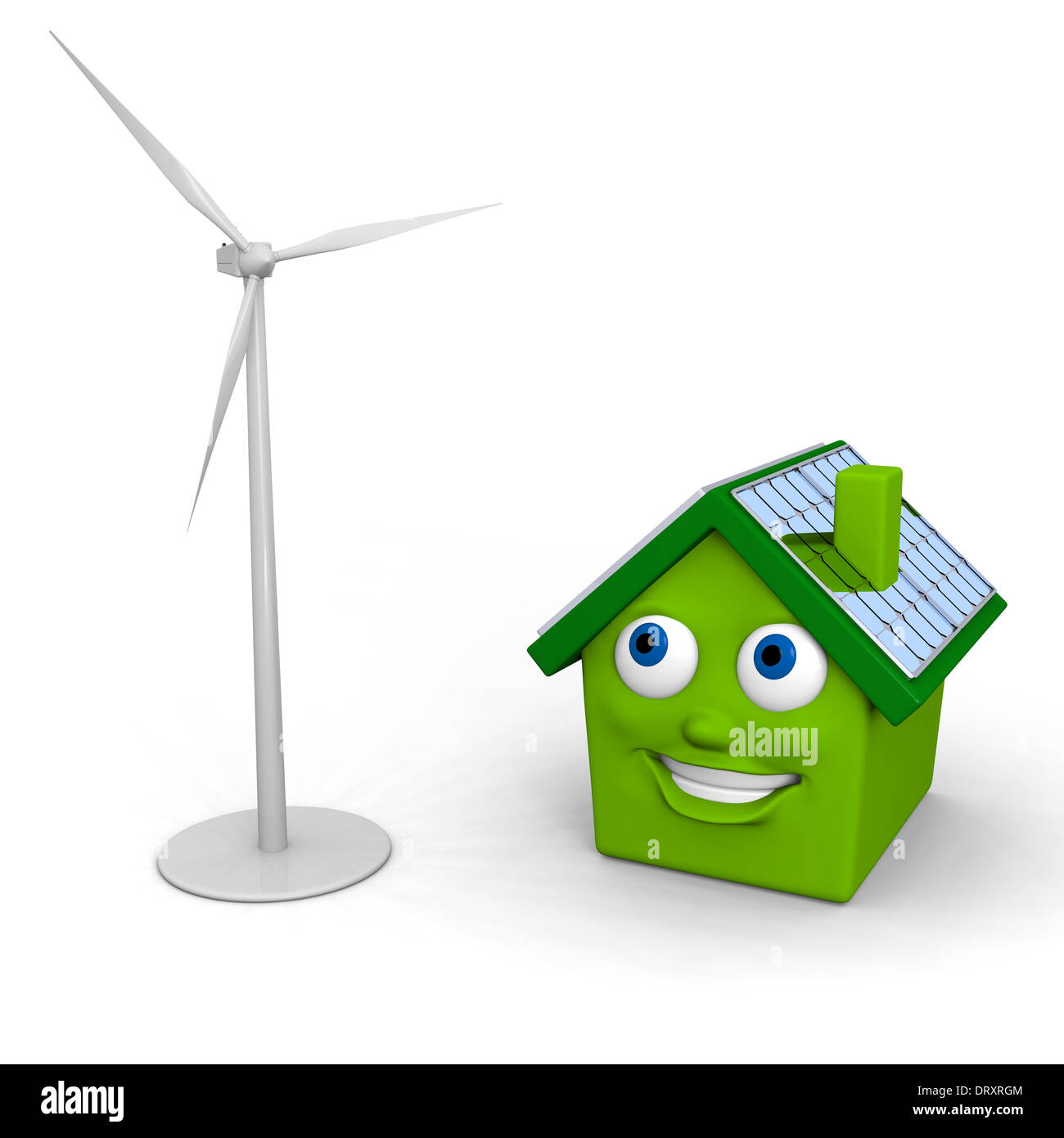 Happy little green house with solar panels on the roof with model of a wind turbine - Stock Image