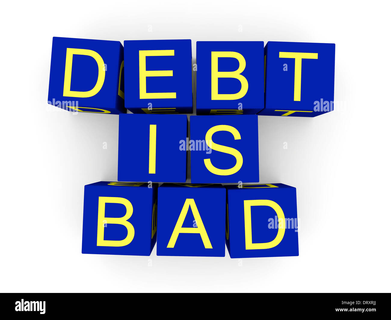 Debt is bad sign made of toy cubes - Stock Image