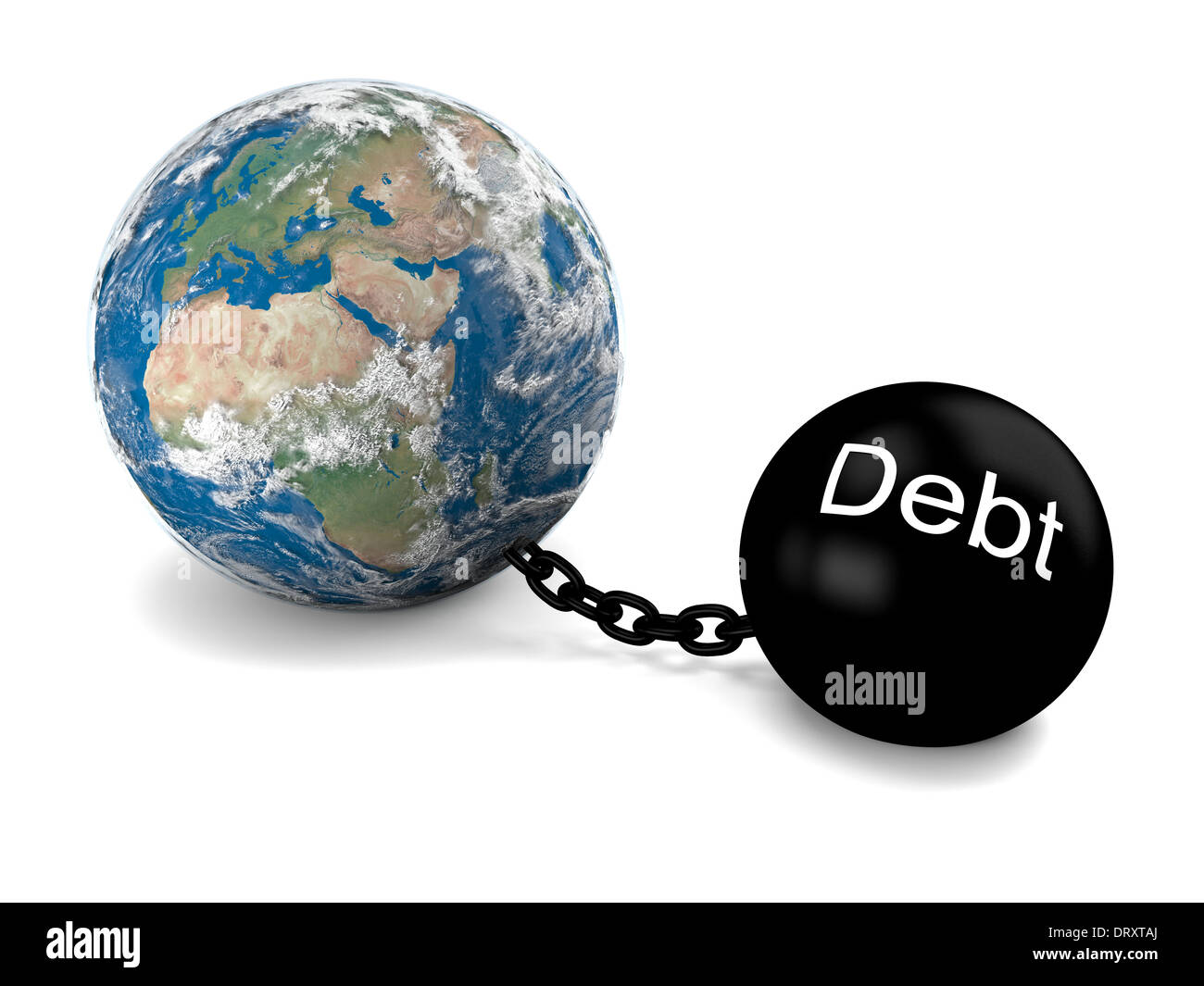 Concept of Earth imprisoned by big heavy debt. Elements of this image furnished by NASA - Stock Image
