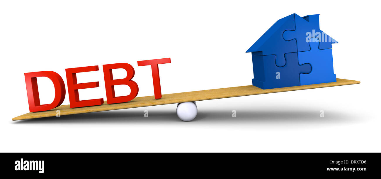 Concept of debt heavier than house - Stock Image