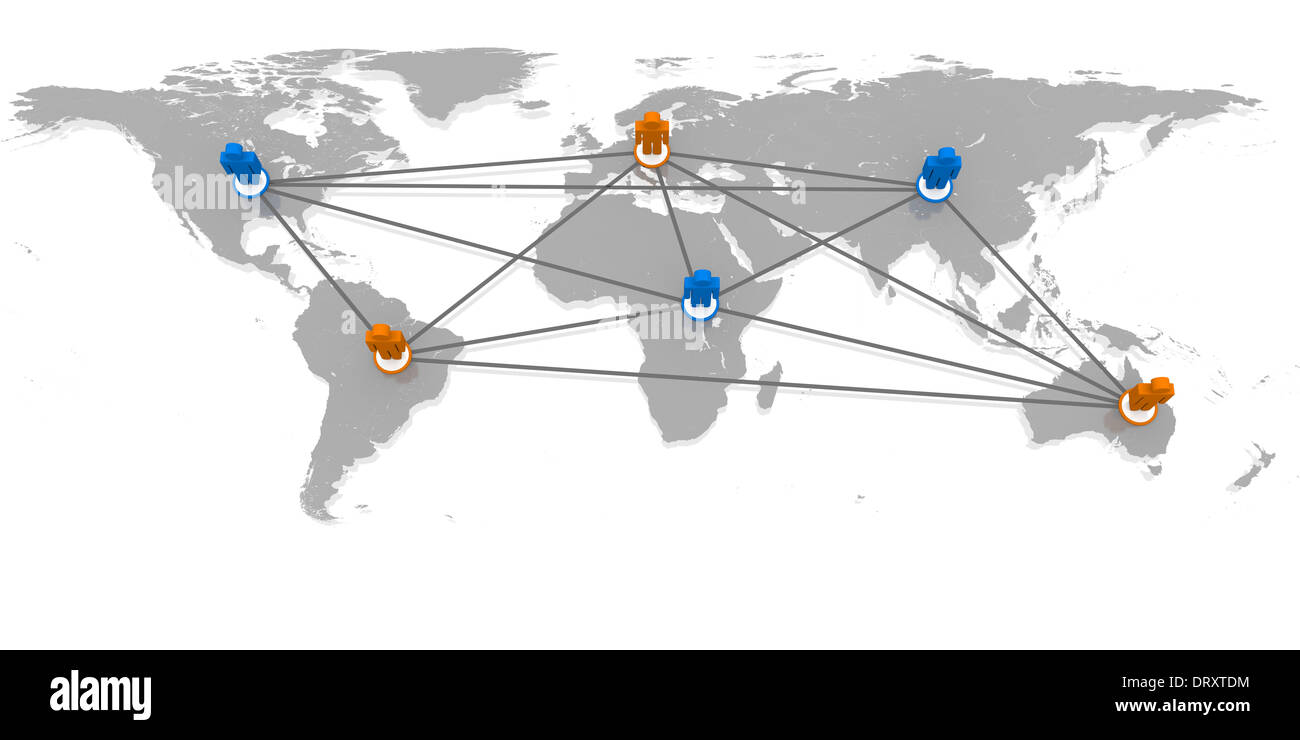 Concept of global network with coloured figurines on world's continents connected to each other - Stock Image
