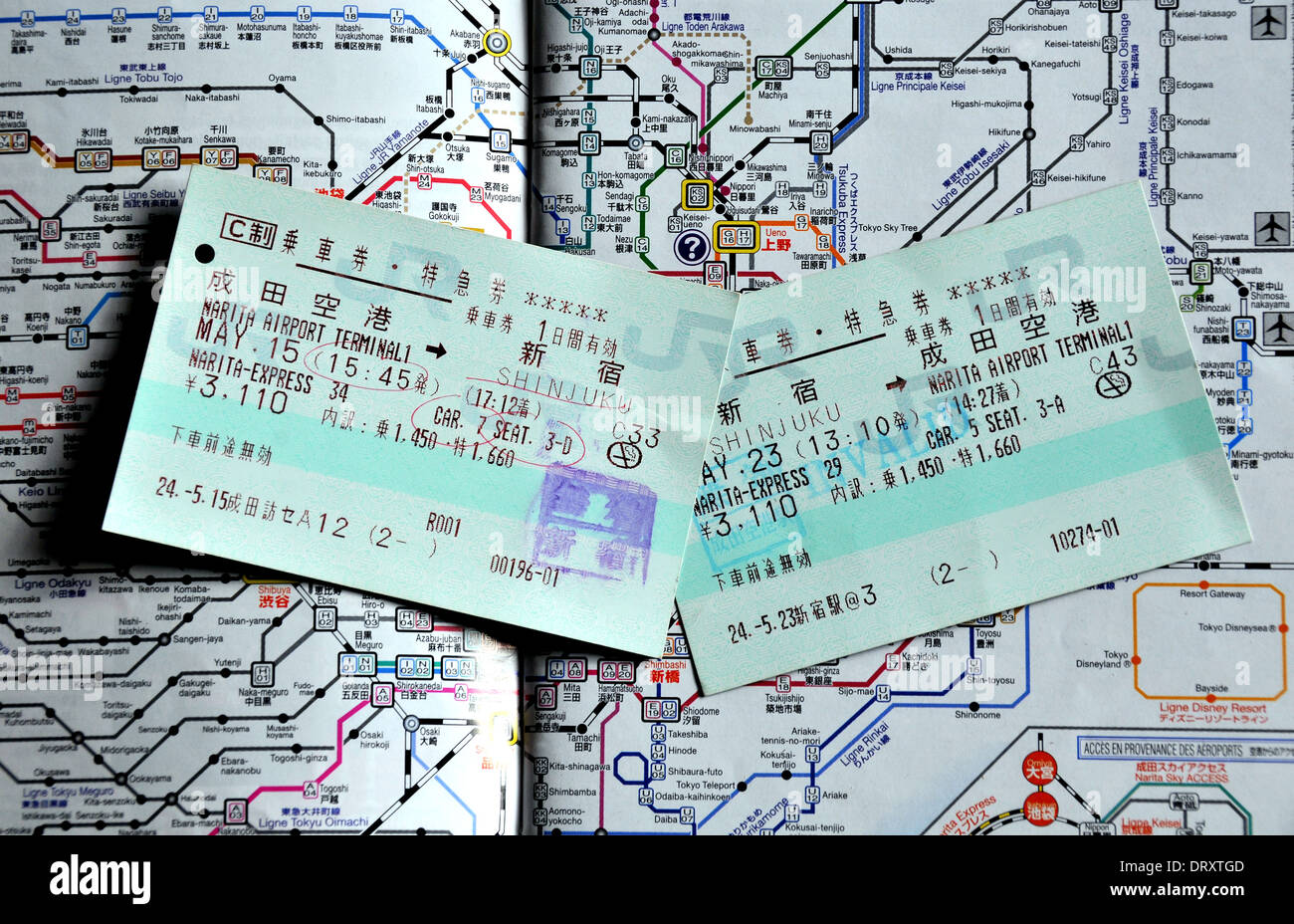 train ticket on the JR train network map - Stock Image