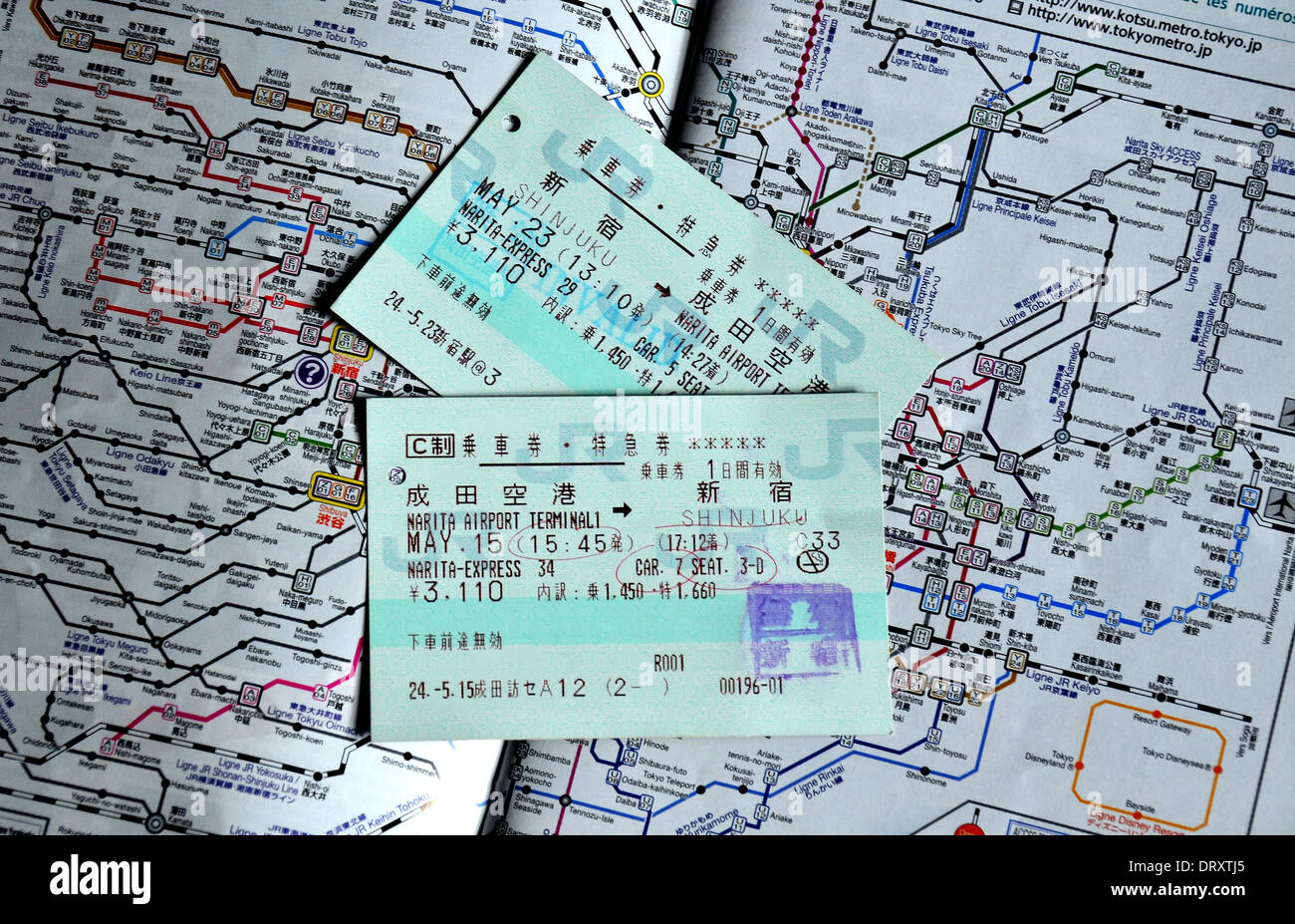 train ticket on the JR train network map Stock Photo