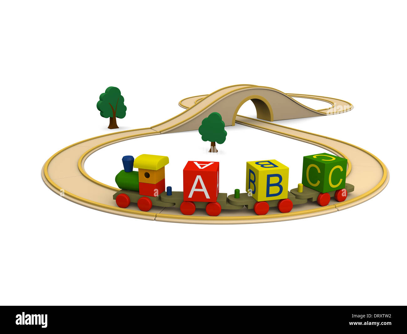 3D illustration of colorful wooden toy train carrying alphabet letters Stock Photo