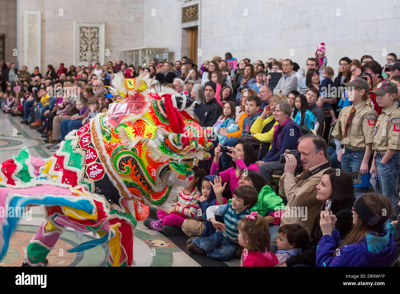 Southern Style Lion Dance for the Chinese New Year at the Detroit Institute of Arts - Stock Image