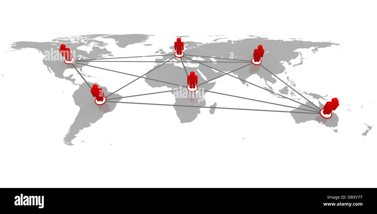Concept of global network with red figurines on world's continents connected to each other - Stock Image