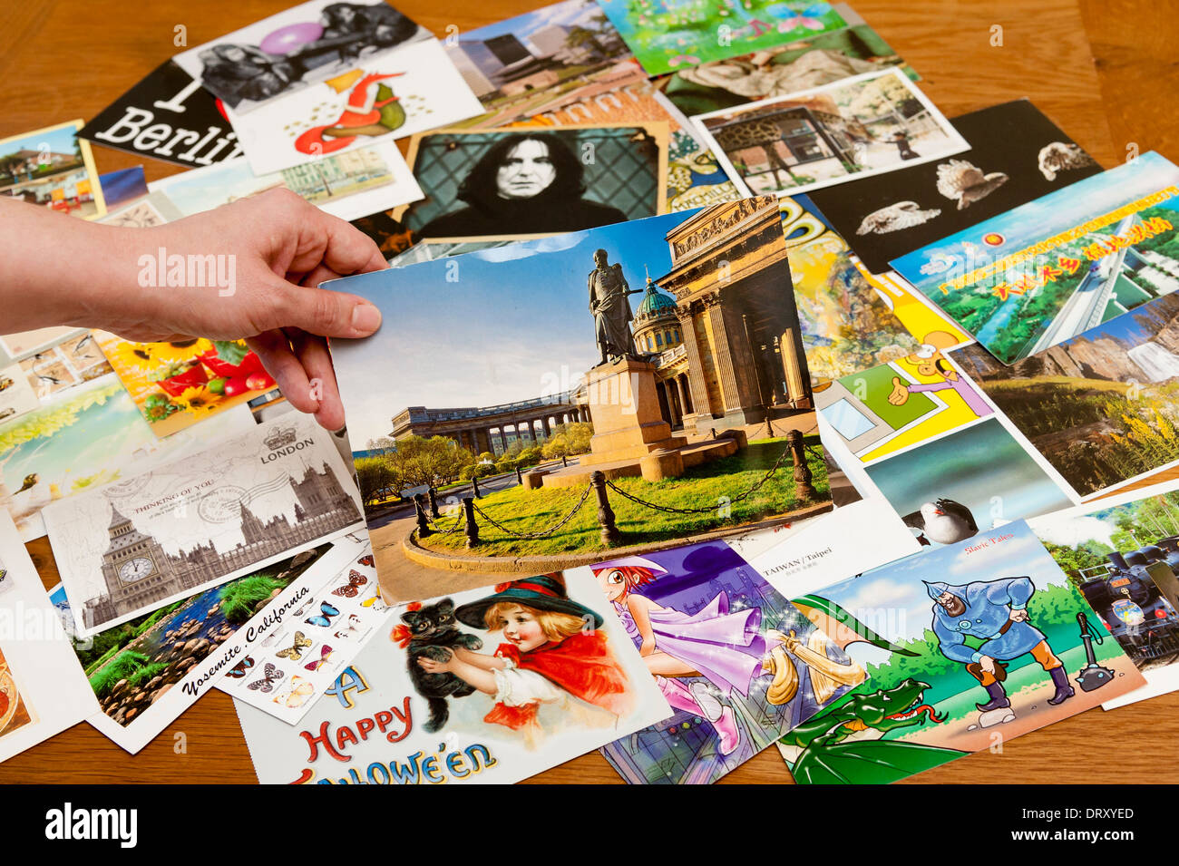 A multitude of postcards lies on a table, with a hand holding one from Russia in the foreground. - Stock Image